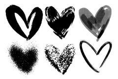 Vector le collezioni di cuori disegnati a mano del biglietto di S. Valentino di lerciume isolati su fondo trasparente Simbolo del royalty illustrazione gratis