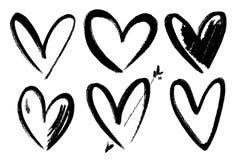 Vector le collezioni di cuori disegnati a mano del biglietto di S. Valentino di lerciume isolati su fondo trasparente Simbolo del illustrazione di stock