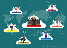 Vector le comunicazioni commerciali intorno al mondo, commerciale la progettazione piana illustrazione di stock