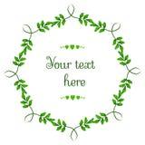 Vector le corone floreali circolari con le foglie verdi e il copyspace bianco centrale per il vostro testo Illustrazione Vettoriale