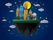 Vector le costruzioni di galleggiamento alla notte con la luna e le stelle Fotografia Stock Libera da Diritti