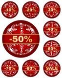 Vector le etichette di vendita dell'inverno con 10 - 80 per cento del testo Fotografia Stock