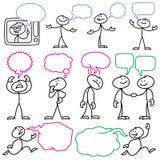 Vector le figure del bastone di schizzo con le bolle in bianco di dialogo illustrazione di stock