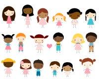 Vector le figure ragazzi e ragazze del bastone di diversità dei bambini illustrazione di stock