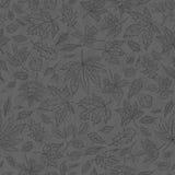 Vector le foglie di autunno senza cuciture di schizzo del fondo del profilo fumoso Modello autunnale con i grafici di erbe per pr Fotografia Stock