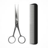 Vector le forbici ed il pettine realistici, su bianco Fotografia Stock Libera da Diritti
