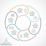 Vector le frecce infographic, il diagramma del ciclo, il grafico lineare, grafico del cerchio della presentazione Concetto di aff royalty illustrazione gratis