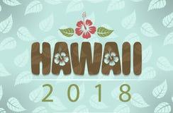 Vector le Hawai 2018 con i fiori e le foglie dell'ibisco fotografia stock