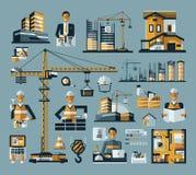 Vector le icone colorate della costruzione messe su un blu Immagine Stock Libera da Diritti