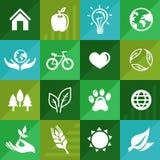 Vector le icone dell'ecologia e firmato dentro il retro stile piano Immagine Stock