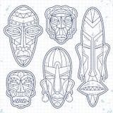 Vector le icone di schizzo, insieme della maschera tribale etnica africana Simboli rituali Fotografia Stock Libera da Diritti