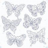 Vector le icone di schizzo, varie farfalle decorative dell'insieme isolate Fotografia Stock Libera da Diritti
