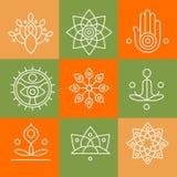 Vector le icone di yoga e la linea i distintivi, progettazione grafica Fotografia Stock Libera da Diritti