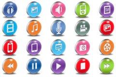 Vector le icone lucide della smussatura ovale di multimedia 3d Immagini Stock