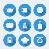 Vector le icone piane della siluetta bianca con la mobilia della cucina Fotografie Stock Libere da Diritti