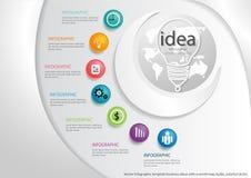 Vector le idee con una mappa di mondo, le lampadine, cerchi variopinti di affari del modello di Infographic Immagini Stock Libere da Diritti