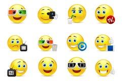Vector le immagini sorridente con gli elementi dell'industria dello spettacolo Fotografie Stock Libere da Diritti