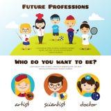 Vector le insegne dei bambini svegli del fumetto nelle professioni differenti Modello di progettazione di professioni dei bambini Fotografie Stock Libere da Diritti