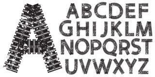 Vector le lettere dell'alfabeto fatte dalle piste del trattore e del carro armato Immagine Stock
