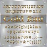 Vector le lettere, le cifre e la punteggiatura dell'alfabeto ricoperte oro su fondo d'argento Immagini Stock