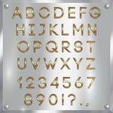 Vector le lettere, le cifre e la punteggiatura dell'alfabeto ricoperte oro su fondo d'argento Immagine Stock Libera da Diritti