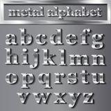 Vector le lettere metalliche d'argento con le ombre su fondo grigio Fotografia Stock