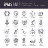 Vector le linee sottili stelle delle icone nel concetto di progetto della galassia Insieme dell'illustrazione infographic dell'un illustrazione vettoriale