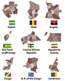 Vector le mappe e le bandiere dei paesi dell'Africa centrale con i confini di regioni di divisioni amministrative illustrazione vettoriale