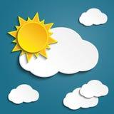 Vector le nuvole astratte ed il sole del Libro Bianco del fondo Immagini Stock