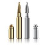 Vector le pallottole della pistola e del fucile isolate su bianco Fotografia Stock Libera da Diritti