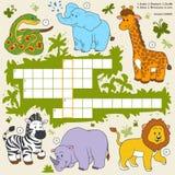 Vector le parole incrociate di colore, gioco di istruzione circa gli animali di safari Fotografia Stock Libera da Diritti