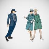 Vector le ragazze e l'uomo di schizzo in vestiti di modo Fotografia Stock
