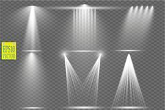 Vector le sorgenti luminose, concerti l'illuminazione, riflettori della fase messi Concerti il riflettore con il fascio, rifletto Fotografia Stock Libera da Diritti