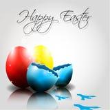 Vector le uova di Pasqua felici con le tracce di pollo Fotografia Stock Libera da Diritti