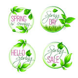 Vector leaf grass of spring time isolated quotes Stock Photography