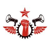 Vector leaflet created using clenched fists raised up, megaphone. Equipment and engineering cog wheel element. Dictatorship and manipulation theme Royalty Free Stock Photo