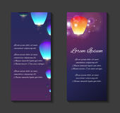 Vector leaflets, flyers, brochure template with sky lanterns royalty free illustration