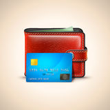 Vector Leather Wallet with Credit Card Royalty Free Stock Photos