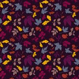 Vector leaves and berries pattern. vector illustration
