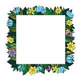 Vector leaves and flowers circle frame vector illustration