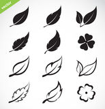 Vector leaves icon set Stock Photography