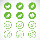 Vector leaves icon set Royalty Free Stock Images