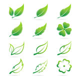 Vector leaves icon set Royalty Free Stock Photos