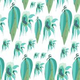 Vector leaves and sunflowers, green, turquoise, light green, aquamarine, plain white background. For fashion wallpaper and textile vector illustration
