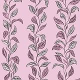 Vector Leaves Texture Pink. Pink Wallpaper for room of girl Stock Images
