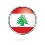 Vector Lebanese flag button. Lebanon flag in glass button style. Royalty Free Stock Photography