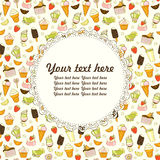 Vector Lebensmittelhintergrund mit Bonbons, Eiscreme, Kuchen und Kaffee Stockfotos