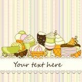 Vector Lebensmittelhintergrund mit Bonbons, Eiscreme, Kuchen und Kaffee Stockfoto