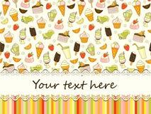 Vector Lebensmittelhintergrund mit Bonbons, Eiscreme, Kuchen und Kaffee Stockfotografie