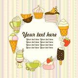 Vector Lebensmittelhintergrund mit Bonbons, Eiscreme, Kuchen und Kaffee Lizenzfreies Stockfoto